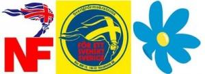 Det britiske National Front, Sverigedemokraternas første partisymbol og deres nyeste.