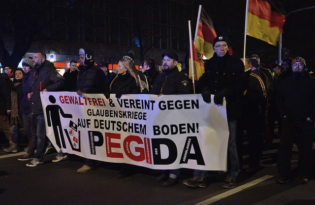 Den antimuslimske beveglsen, Pegida holder en demonstrasjon i Dresden. Foto: Flickr.com