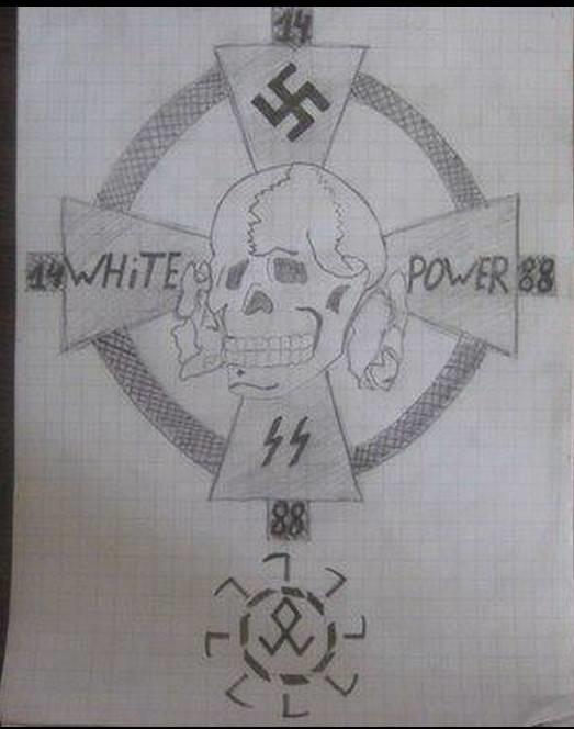 En hjemmelaget nazi-tegning funnet på kvinnens hjemmeside på Facebook.