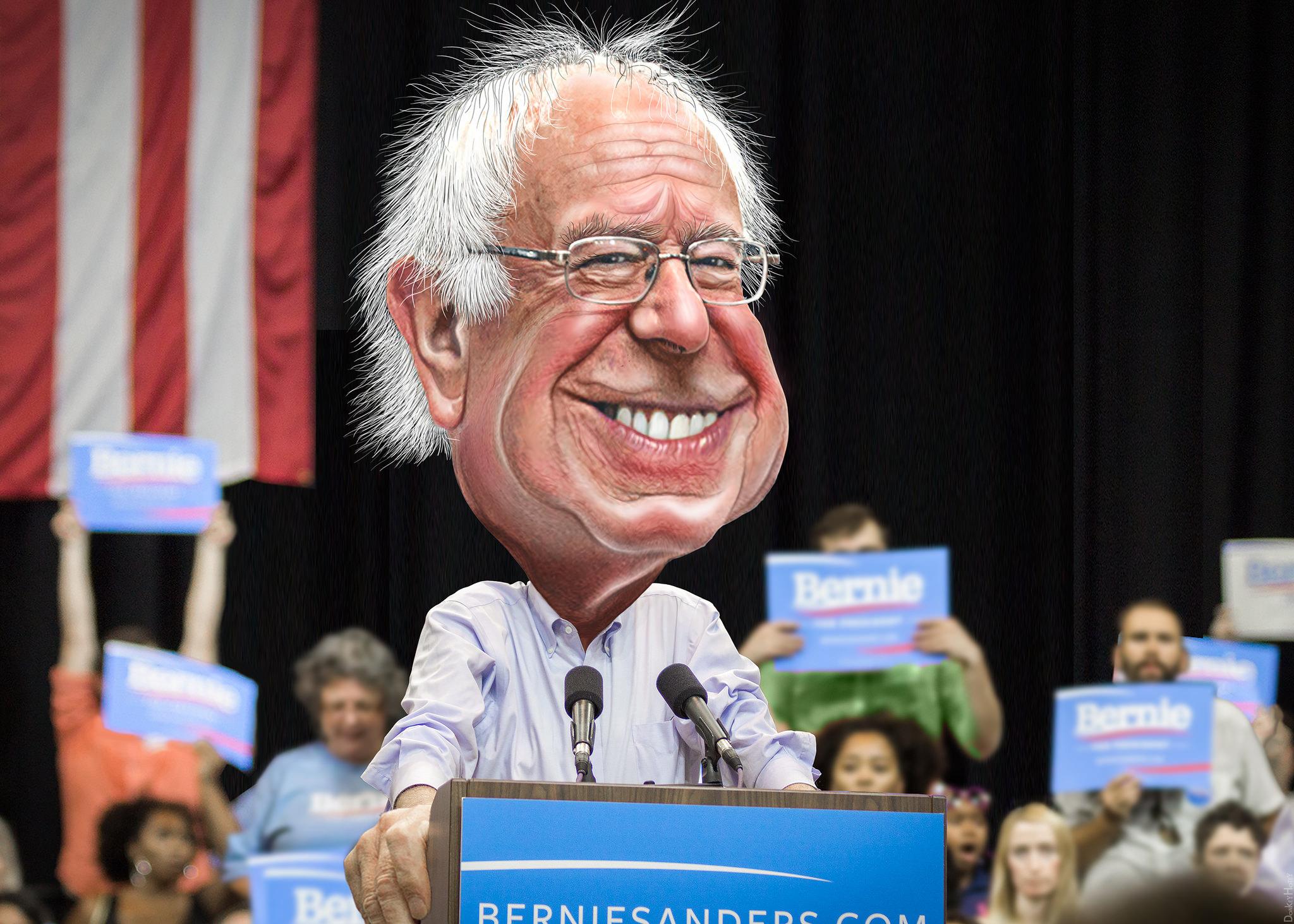 Tegnet karikatur av Bernie Sanders på talerstol